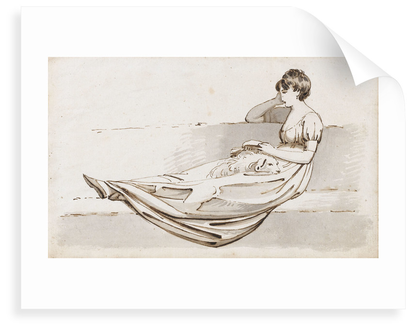 A young woman reclining on a sofa reading a book, possibly one of the Connors, Emma's cousins by Thomas Baxter