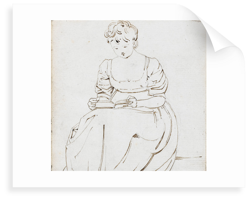 A young woman seated, reading a book, possibly Charlotte Nelson by Thomas Baxter