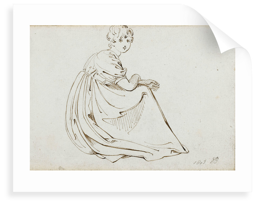 A young woman in a long dress crouching by Thomas Baxter