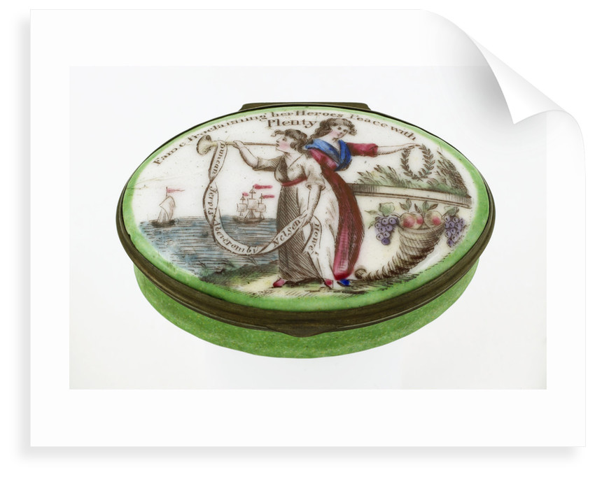 Oval patch box with a mirror inside the lid, commemorating naval heroes of the French Revolutionary War. by unknown