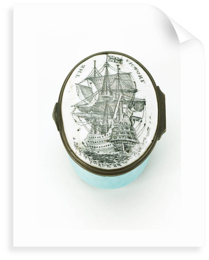 Oval patch box with a mirror inside the lid, commemorating HMS 'Victory' by unknown