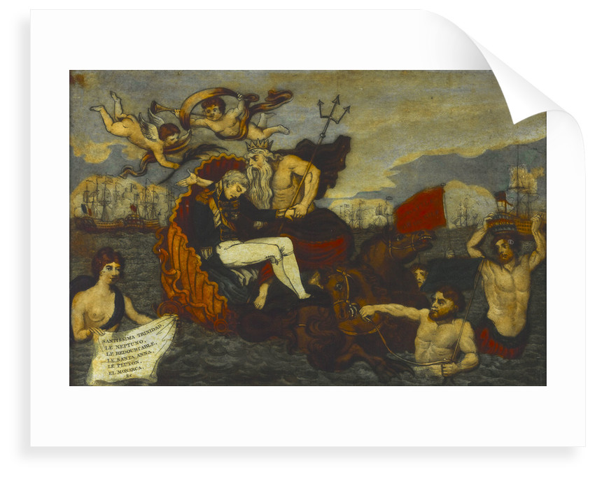 Neptune drawn by Sea Horses, and preceded by Tritons bearing Emblematic Devices supporting his favourite son Admiral Lord Nelson in his Last Moments' by Stampa & Son