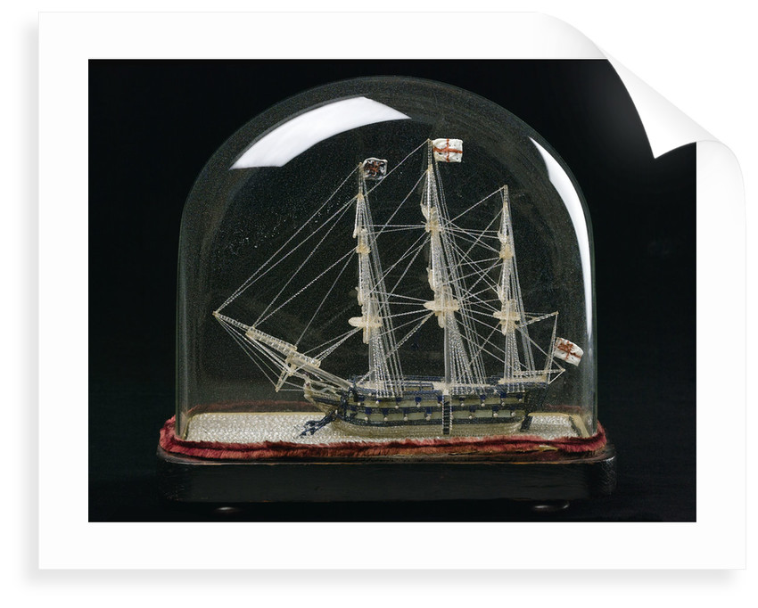 Ship model in glass dome by unknown