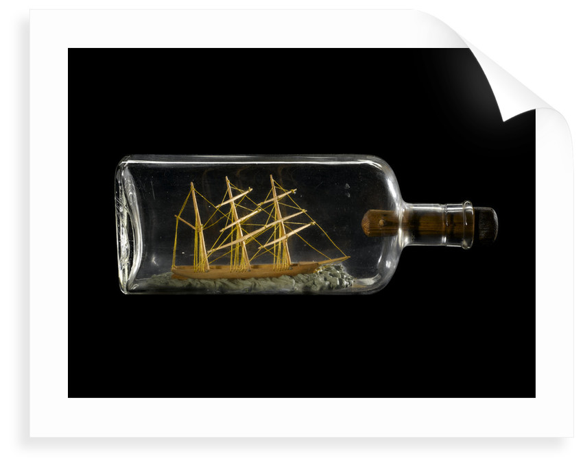 A spirit bottle containing a demonstration model of a three-masted barque by Robert Orr