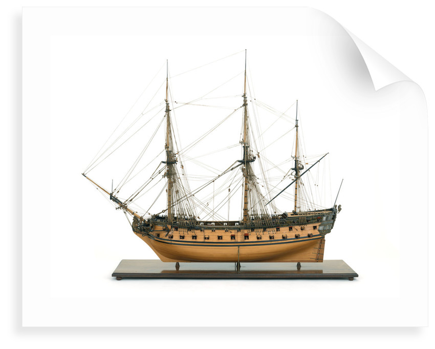 Ship of 60 guns, port broadside by John Hancock