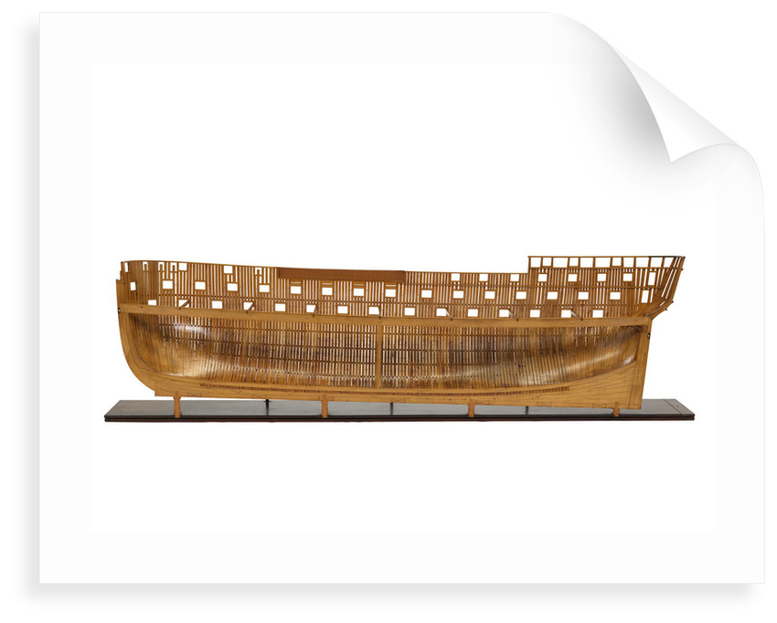 Ship of 74 guns, half-sectional model, starboard hull internal view by unknown