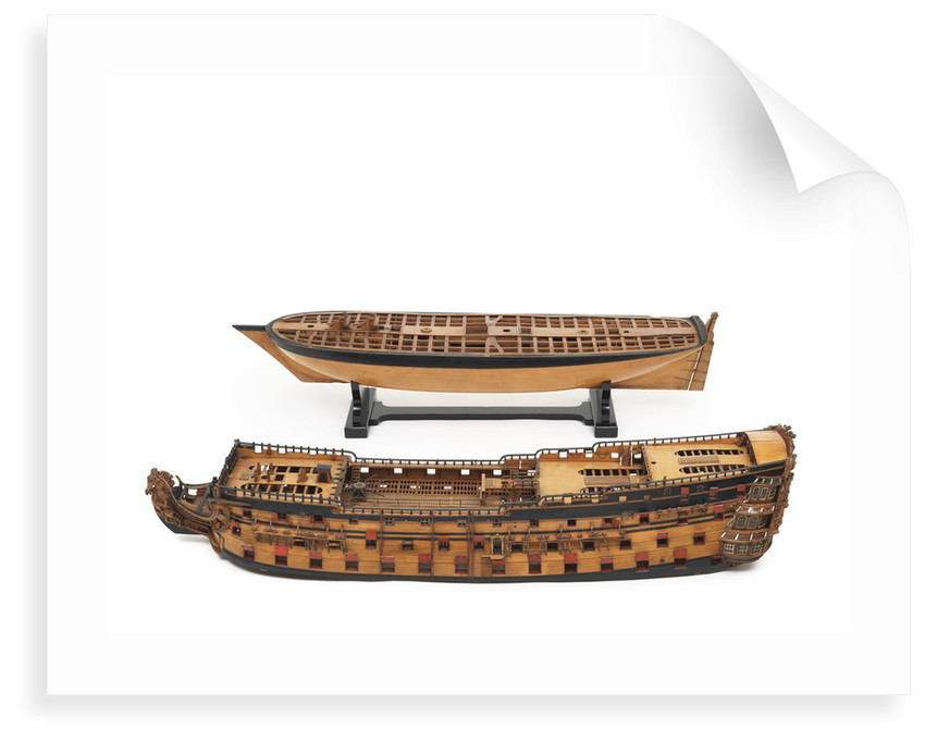 'Royal William', model split to show upper and lower decks by unknown