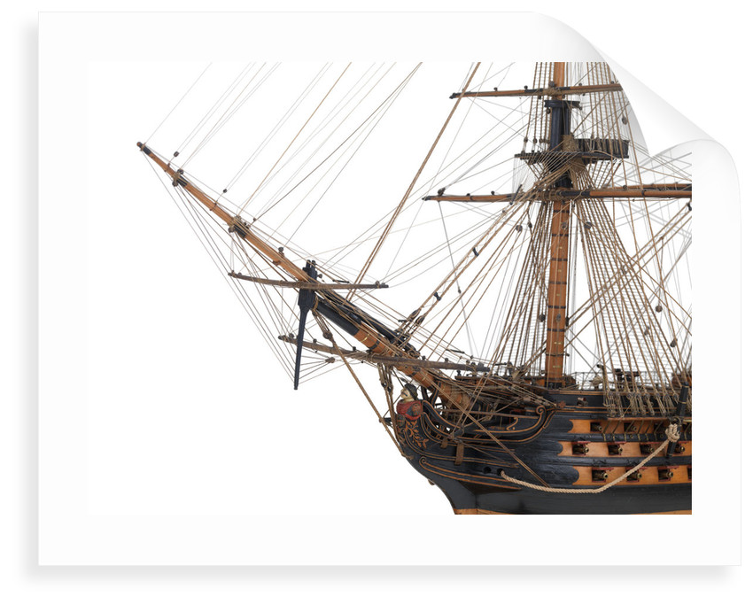 Ship of 110 guns, port bow and figurehead detail by unknown