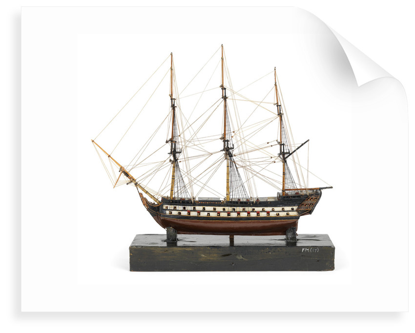 Two-decker, port broadside by unknown