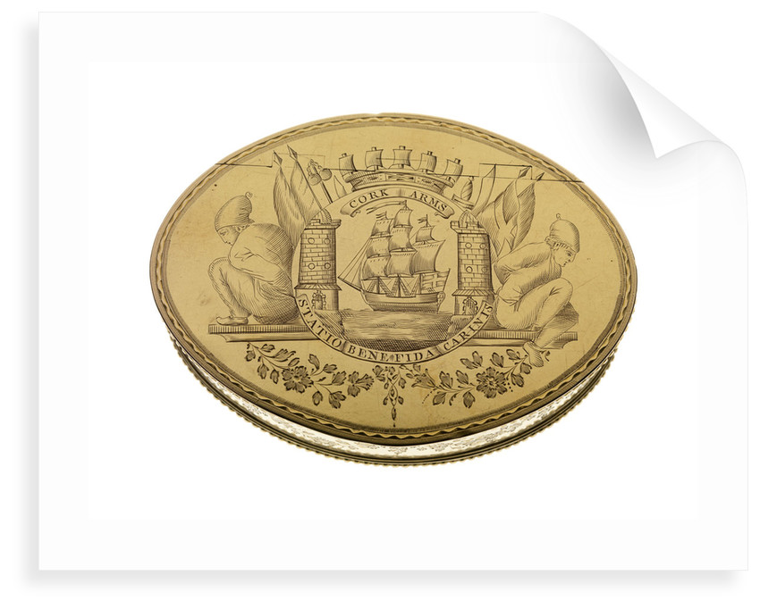 Gold freedom box presented by the City of Cork on 16 September 1782 to Admiral Lord George Brydges Rodney (1719 -92) by William Reynolds