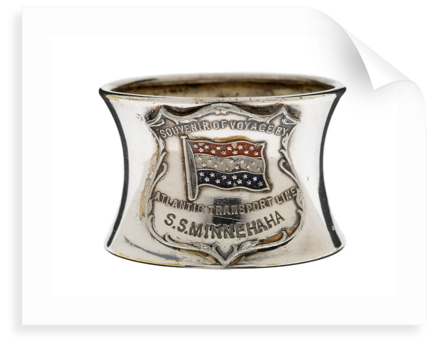 Silver-plated napkin ring, a souvenir of SS 'Minnehaha' by unknown