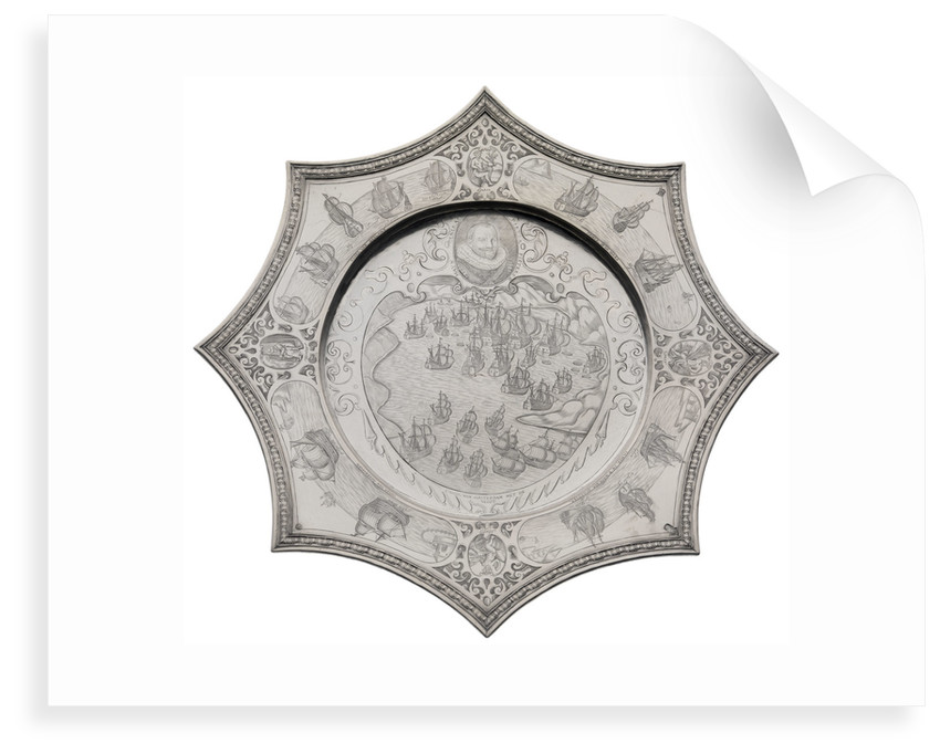 Silver dish commemorating the capture of the Spanish silver fleet by the Dutch Admiral Piet Hein (1577-1629) in 1628 in the bay of Matanzas by Andreas Kauxdorf