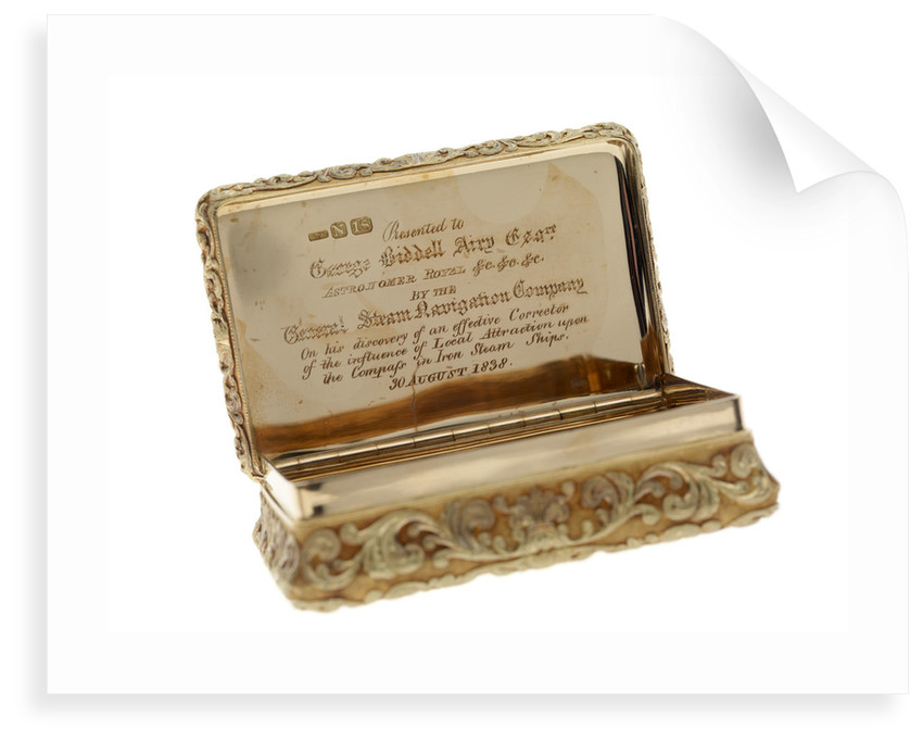 Gold snuff box presented to Sir George Biddell Airy (1801-1892) by the General Steam Navigation Company in 1838 by Alexander James Strachan