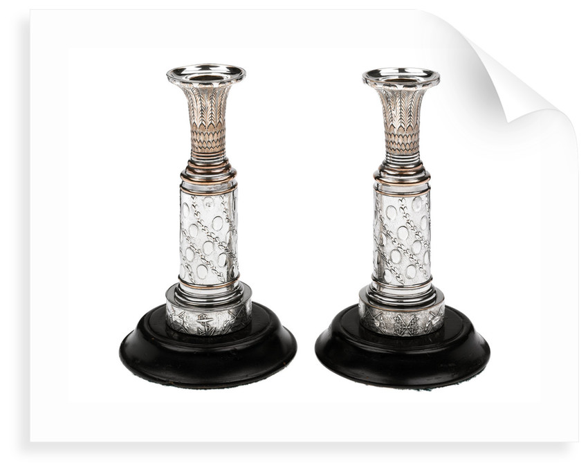 One of a pair of matching Sheffield plate candlesticks commemorating the victories of Admirals Richard Howe, John Jervis, Adam Duncan and Horatio Nelson by unknown