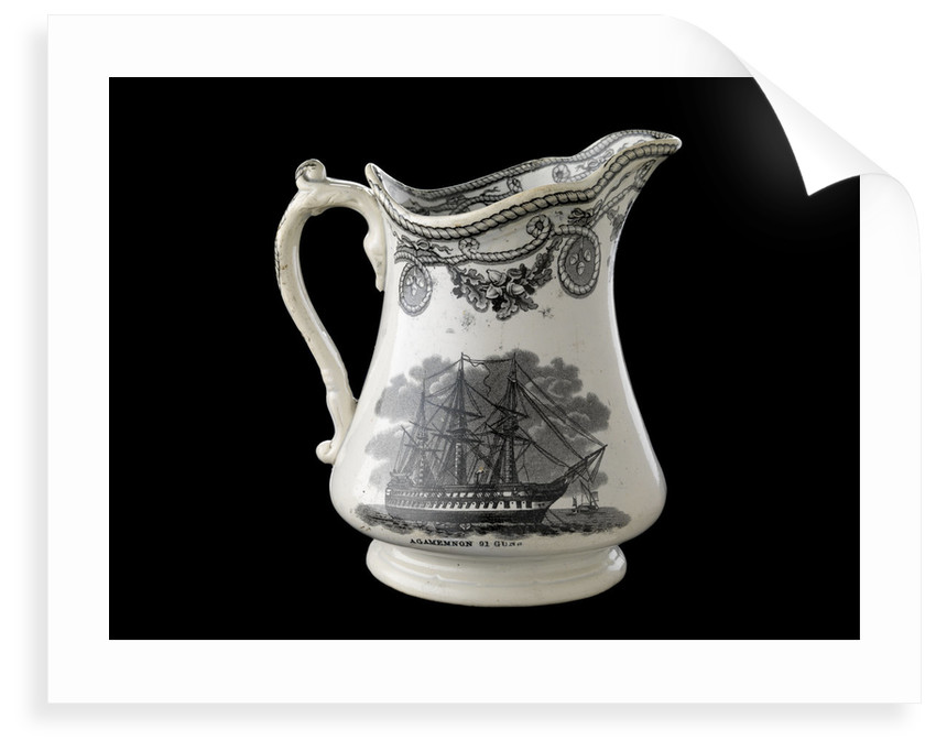 Jug transfer-printed in black on one side with a view of HMS 'Agamemnon' at anchor and the other with the 'Great Eastern' under sail and steam by unknown