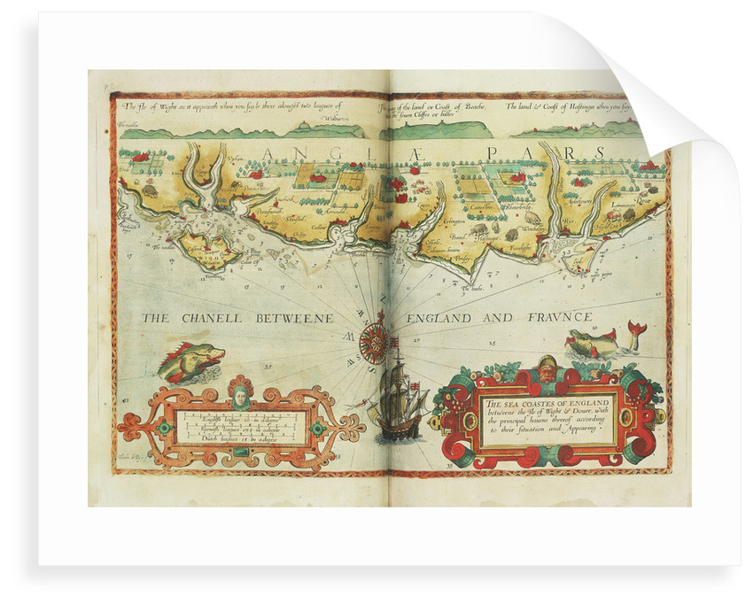 The sea coastes of England between the Isle of Wight and Dover, with the principal havens thereof according to their situation and appearing by Lucas Janz Waghenaer