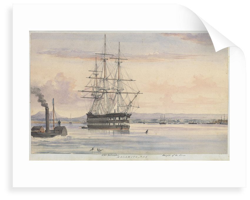 Watercolour of the 'Bellerophon' at Kalamita Bay, Heights of the Alma, September 1854 from the logbook of HMS 'Trafalgar' kept by Captain Hereford by Edward William Hereford