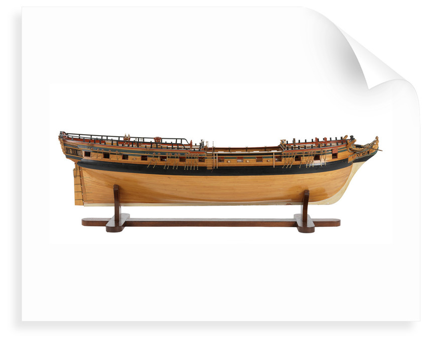 Contemporary full hull model 'Minerva' (1780), a 38-gun frigate by G.W. French
