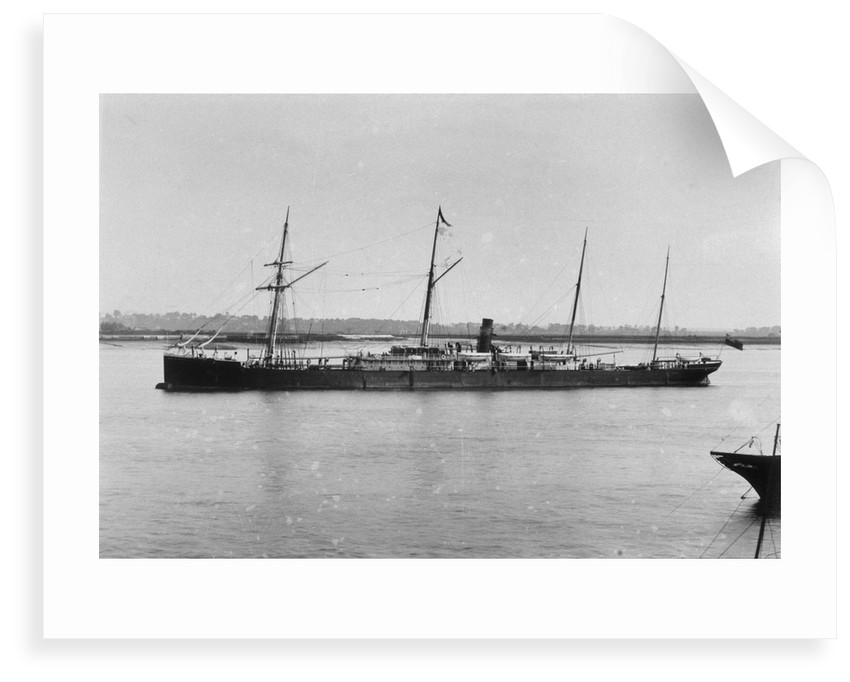 """A photograph of the passenger/cargo liner """"Duke of Devonshire"""" (1873) at moorings in Gravesend Reach, River Thames by unknown"""