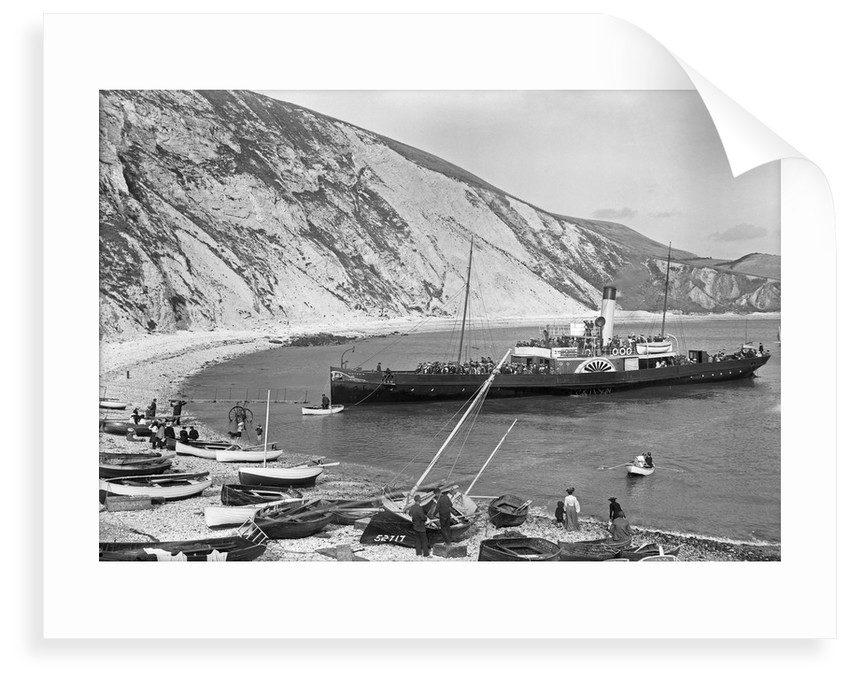 Paddlesteamer Victoria preparing to beach and land passengers at Lulworth Cove, Dorset by National Maritime Museum