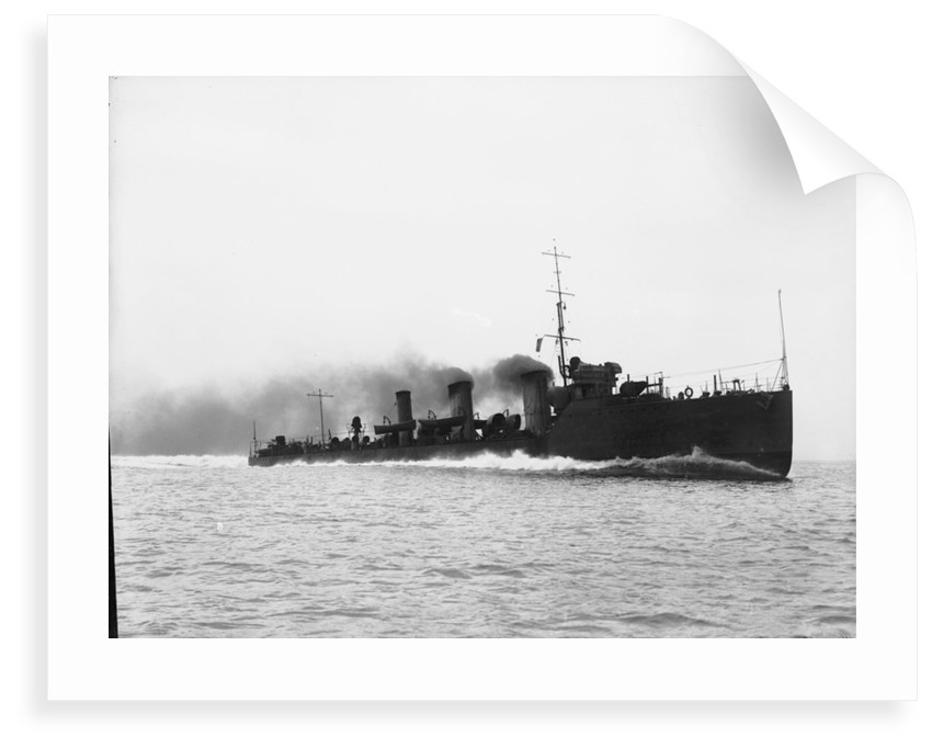 Torpedo boat destroyer HMS 'Nautilus' (1910) at speed on trials in 1911 by unknown