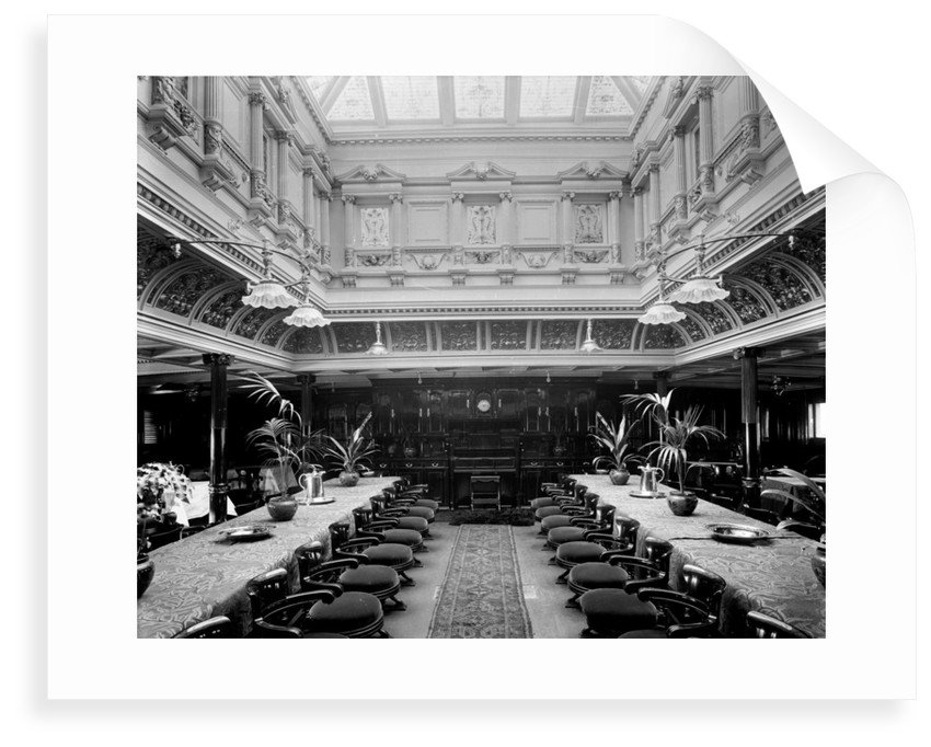 First Class Dining Salon on the 'Omrah' (1899) by Bedford Lemere & Co.