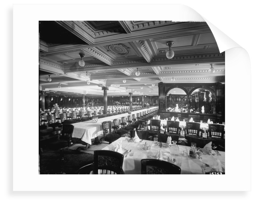 First Class Dining Saloon on the 'Lucania' (1893) by Bedford Lemere & Co.