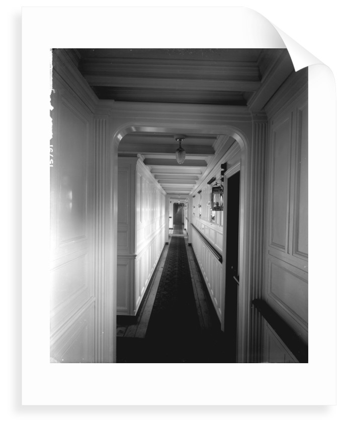 Corridor to the First Class Ladies' Room on the 'Saxonia' (1900) by Bedford Lemere & Co.