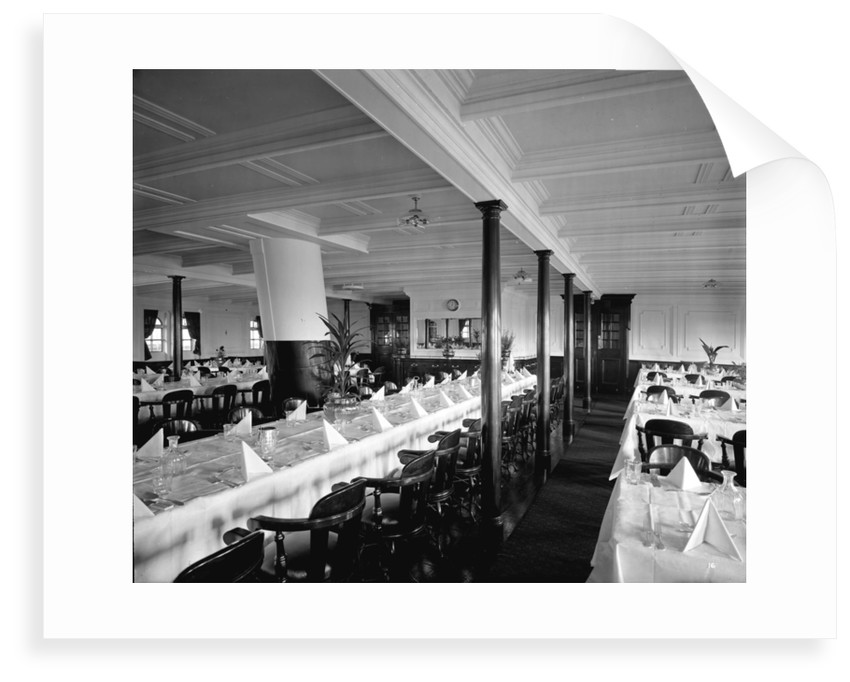 Second Class Dining Saloon on the 'Balmoral Castle' (1910) by Bedford Lemere & Co.
