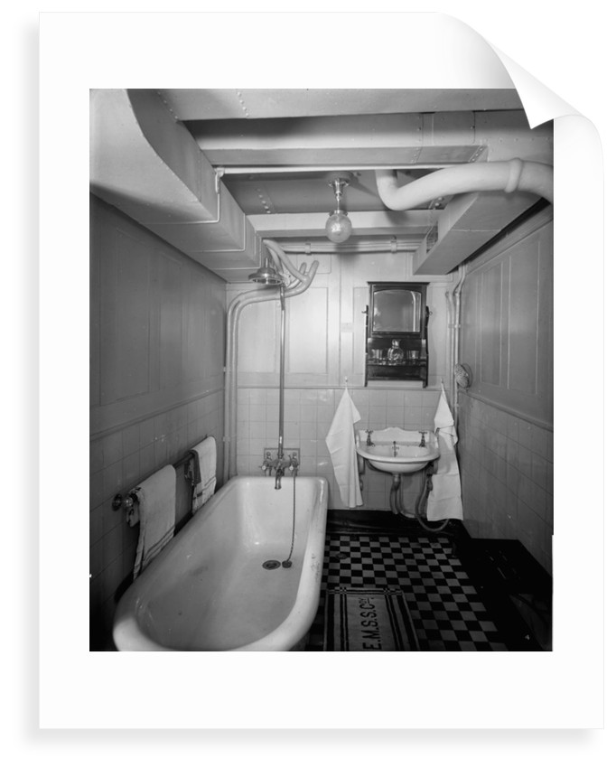 First Class bathroom on the 'Royal George' (1907) by Bedford Lemere & Co.