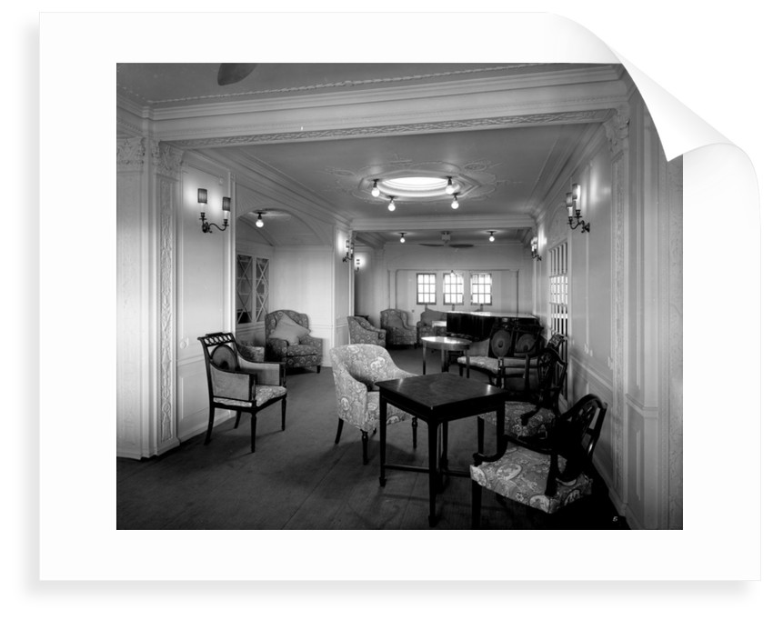 First Class Writing Room and Library on the 'Orama' (1911) by Bedford Lemere & Co.