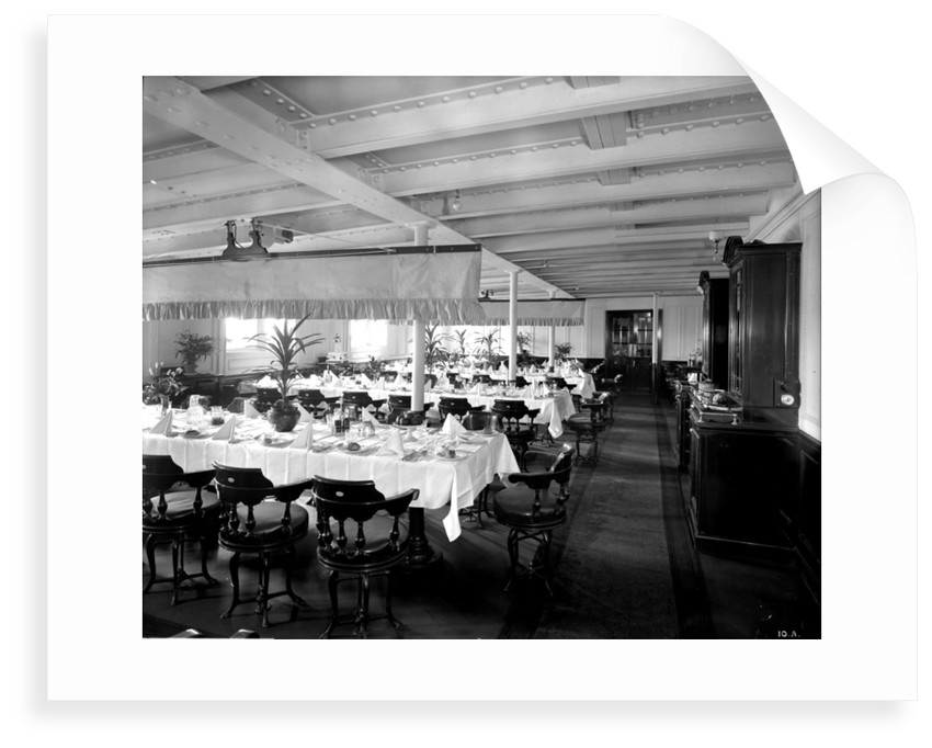 Second Class Dining Saloon on the 'Orama' (1911) by Bedford Lemere & Co.