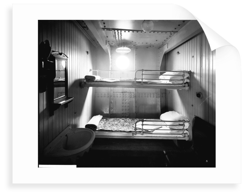 Second Class stateroom on the 'Highland Piper' (1911) by Bedford Lemere & Co.