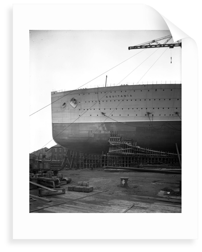 Fore part of the 'Aquitania' (1914) on the stocks by Bedford Lemere & Co.