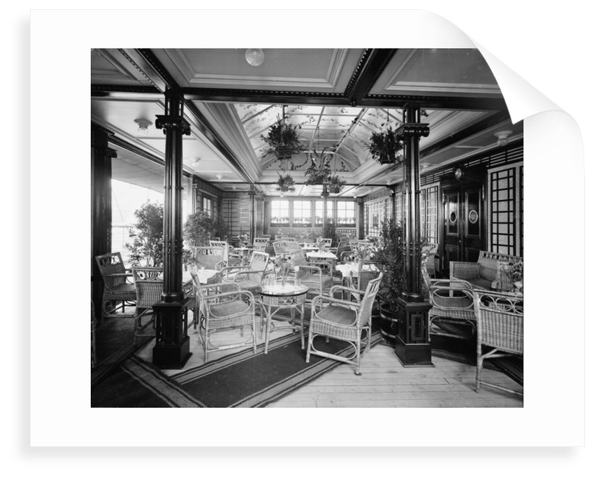 The First Class Verandah Cafe, 'Mauretania' (1907) by Bedford Lemere & Co.