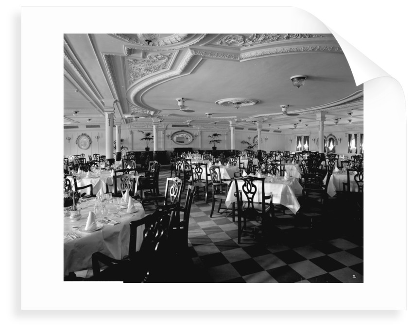 First Class Dining Saloon on the 'Llandovery Castle' (1914) by Bedford Lemere & Co.