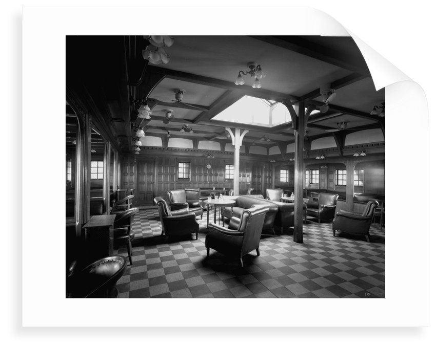 First Class Smoking Room on the 'Llandovery Castle' (1914) by Bedford Lemere & Co.