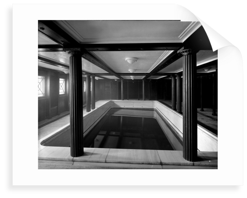 First Class Swimming Bath on the 'Aquitania' (1914) by Bedford Lemere & Co.