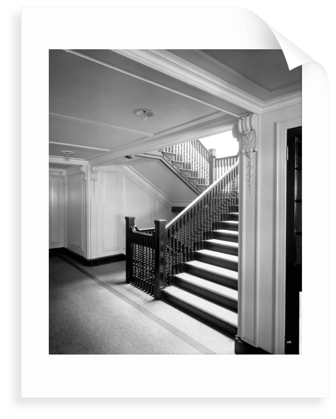 First Class Secondary Staircase on the 'Aquitania' (1914) by Bedford Lemere & Co.