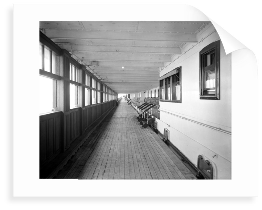 First Class Promenade on the 'Aquitania' (1914) by Bedford Lemere & Co.