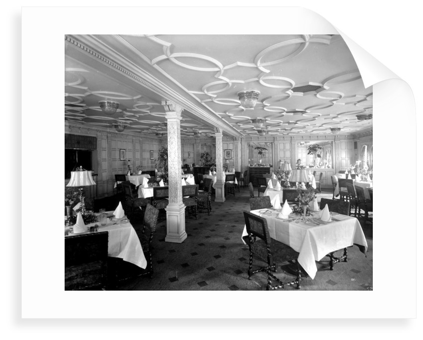 First Class Grill Room on the 'Aquitania' (1914) by Bedford Lemere & Co.