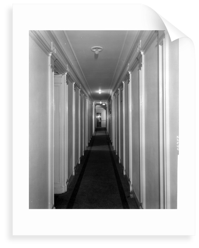 Corridor in First Class accommodation on the 'Aquitania' (1914) by Bedford Lemere & Co.