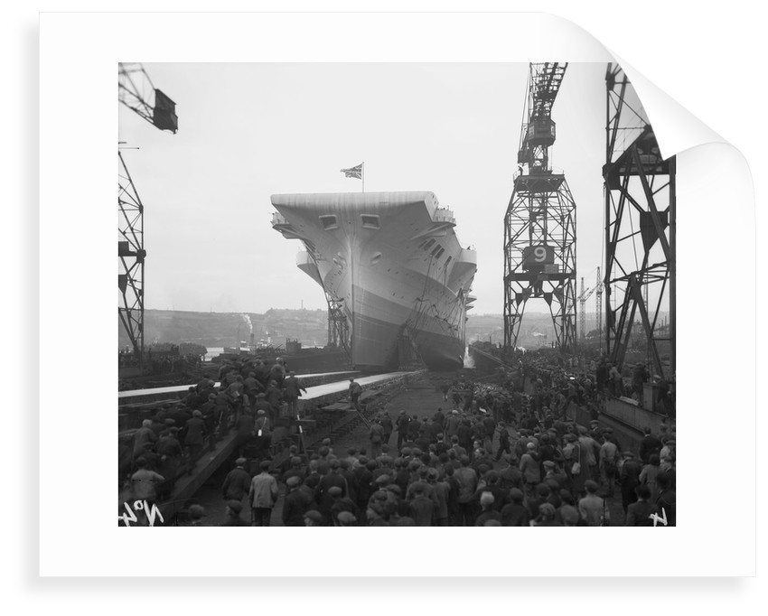 Aircraft carrier HMS 'Victorious' (1939) moving down the slipway on No.3 berth by unknown