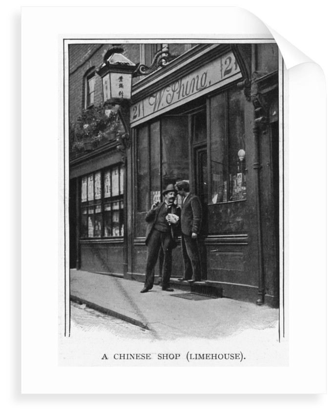 A Chinese shop in Limehouse, one of the illustrations depicting London's Chinese community in 'Living London' (1901), edited by George R. Sims. by G.R. Sims