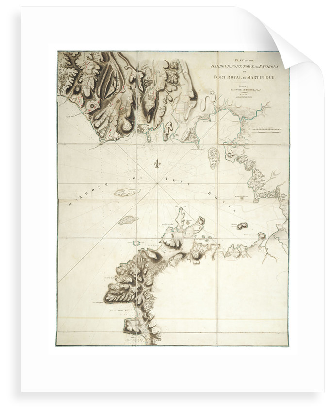 Plan of the harbour, fort, town and environs of Fort Royal in Martinique by William Booth