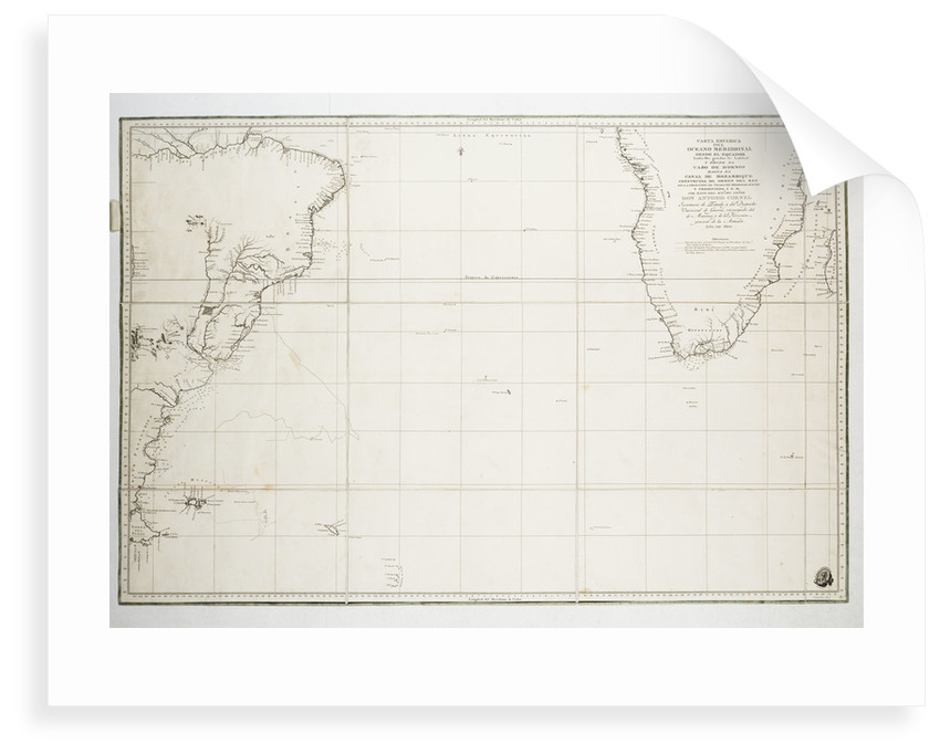 Chart of the Atlantic Ocean south of the Equator, 1785 by Deposito Hidrografico