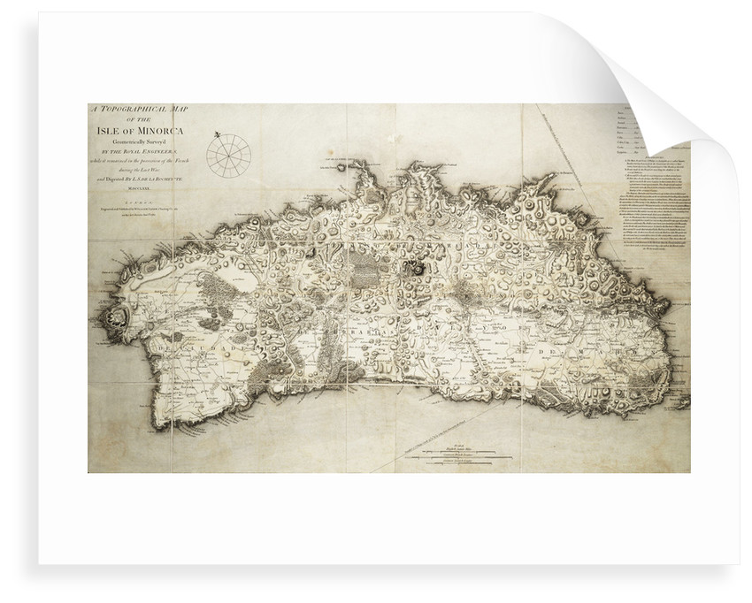 Map of Minorca, 1780 by L. S. de la Rochette