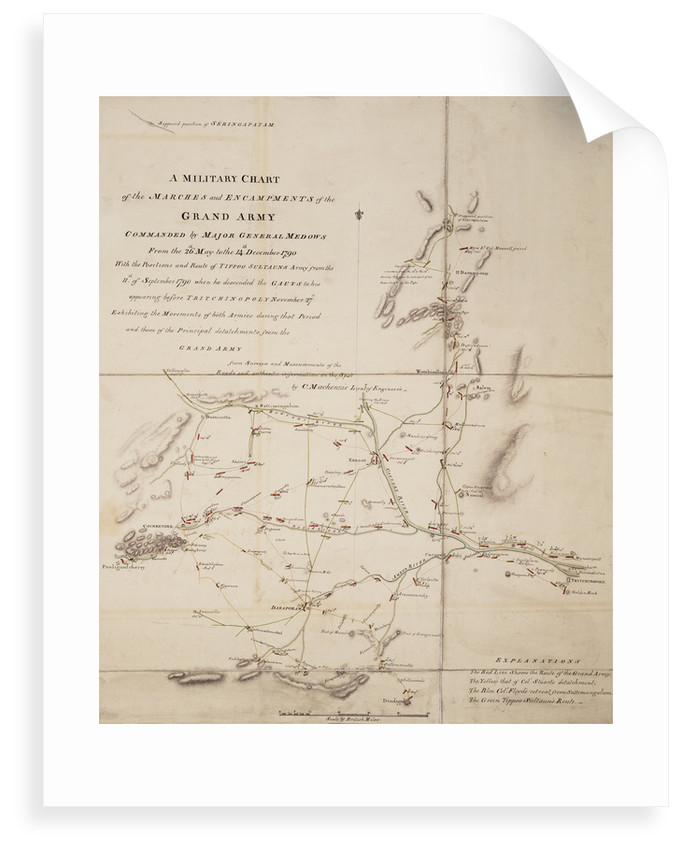 A military chart of the marches and encampments of the grand army commanded by Major General Medows from the 26th May to the 14th December 1790 by C. Mackenzie
