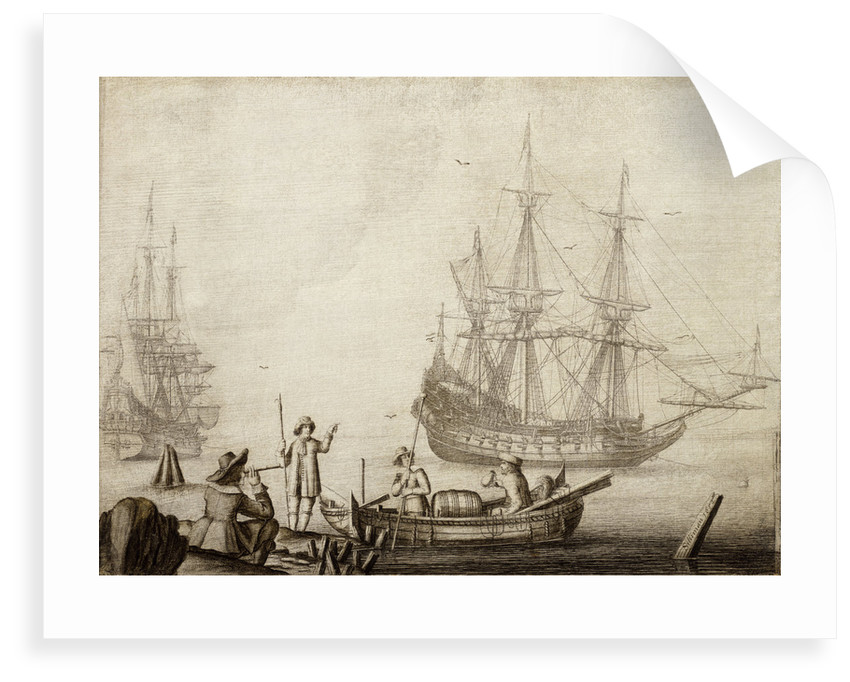 Men in a boat near two Dutch ships by Experiens Sillemans