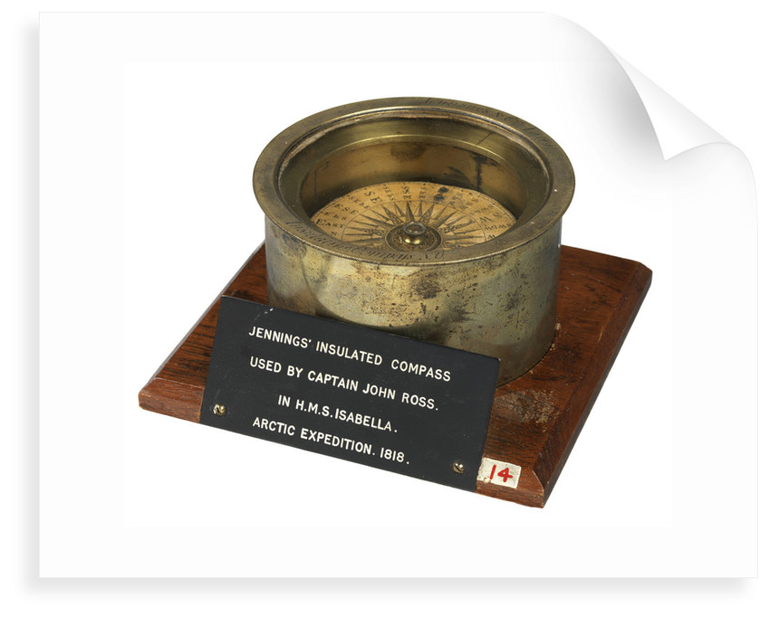 A magnetic dry-card compass of a type patented by Henry Jennings in 1818 (no. 4259) by Jennings and Company